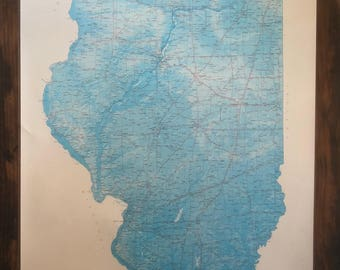 Illinois Home State Elevation Laminated Litho Wall Map