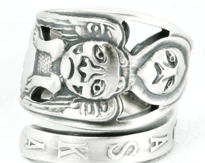 Animal Totem Pole Ring, Sterling Silver Spoon Ring, Alaska Jewelry, Alaskan Jewelry, Tribal Unique Animal Ring, Adjustable Ring Size (7086)