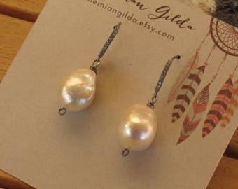 Fresh water pearls on pave diamond silver hooks