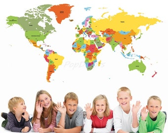 World Map, Kids Wall Decals, Children Wall Stickers- World Map -Educational Wall Mural, Playroom Vinyls Children Must Have Wall Arts prt0018