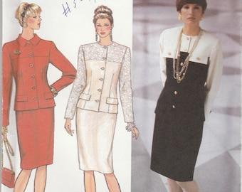 90s Skirt Suit Pattern Simplicity 9917 Sizes 16 - 26 Uncut
