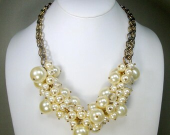 SALE, Pearl Crystal Bead Charm BIB Necklace, on a Chain, Adjustable Drama, Glam Fancy Fun, White Luminosity..Prom Anyone..