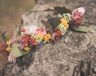 Headdress preserved multicolor flowers
