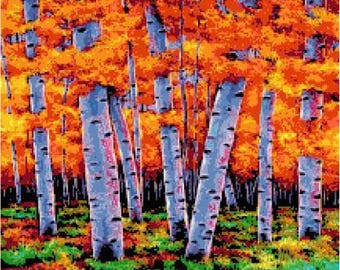 Trees of Fall Cross Stitch Chart