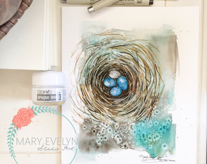 Featured listing image: Nest Print of Original Watercolor and Ink