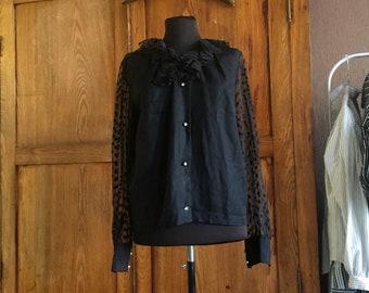 Vintage Sheer Sleeves Black Blouse