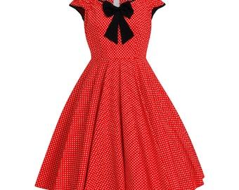 Mickey Minnie Mouse Dress Disney Dress Christmas Dress Polka Dot Dress Birthday Dress Red Dress Pin Up Dress 50s Party Dress Plus Size Dress