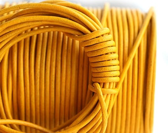 1.5mm Round Leather cord - Sunflower Yellow - 10 feet, LC042