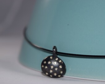 Oxidized Silver Nugget Pendant with dots on wire necklace, so cute!