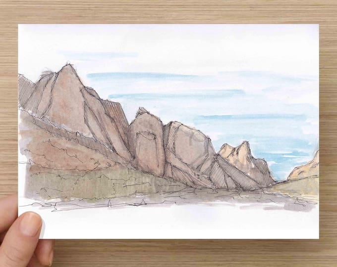 Window Trail Mountains in Big Bend National Park - Hiking, Landscape, Sunset, Ink Drawing, Sketch, Watercolor, Art, Pen and Ink, 5x7, 8x10