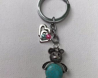Turquoise Love Bear Metal Key Chain