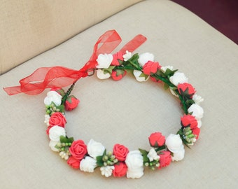 THE EMMIE White Red Wedding Crown Bridesmaid Bridal Prom Hippie Gypsy  Style Hair Woodland Crown Head Band Crown Spring Christmas Crown