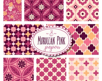 Moroccan Pink Seamless Patterns // Digital Papers // Morocco North Africa // Pink Magenta Burgundy // Pattern Print // Swatch Tile // 12x12