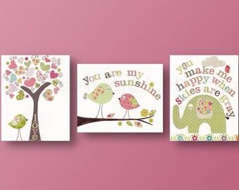 Artwork Nursery art prints baby nursery decor kids wall art children wall art tree bird elephant you are my sunshine Set of 3 prints