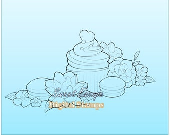 Cupcake and flowers Digital Stamp