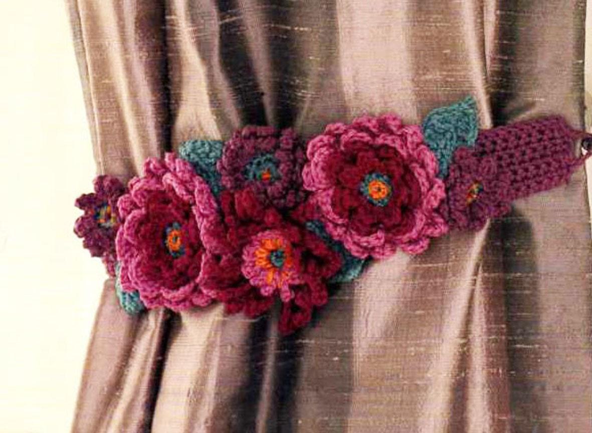 Blumen häkeln Vorhang Raffhalter Muster häkeln PDF