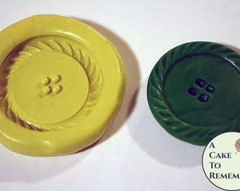 """Silicone Large Button Mold for cake decorating and gumpaste, 1 7/8"""" across. it can also be used for resin and polymer clay buttons. M27"""