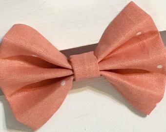 Peach and white polka dotted hair bow, Fabric hair bow, nylon headband, clip in hair bow, fabric bow, clip in hair bows