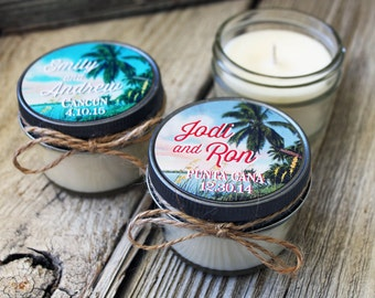 Set of 12 - 4 oz Candle Wedding Favor - Soy - Personalized Wedding Favors // Tropical Destination Wedding Favors