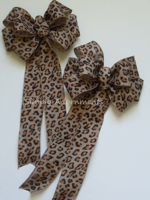 Leopard Wreath Bow Leopard Burlap Wreath Bow Leopard Print Bow Leopard Wedding Bow Leopard Birthday Decor Safari Party Decor Package Bow