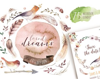 Watercolor boho flowers & feathers. Wedding digital Clip art collection. Individual PNG files. Hand Painted rustic.  Bohemian  tribe wedding