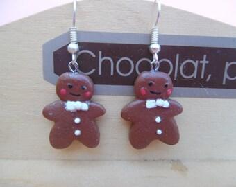 Gingerbread snowman polymer pierced earrings