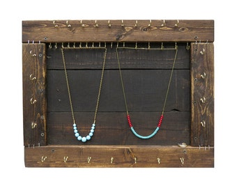 Jewelry Organizer // Necklace Display // Reclaimed Wood Furniture / Bracelet Necklace Storage / Wall Mount Jewelry Hooks / Eco-Friendly Gift
