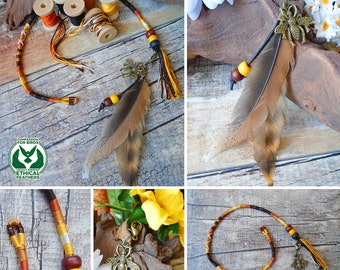 Feathered Hair Wrap, Cruelty free feathers, Hairwrap, Ethical feather braid, Removable hair accessory, Wooden beads Bronze charm, BUMBLE BEE