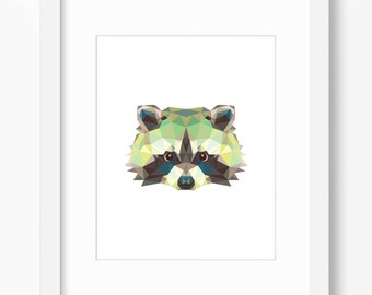 Raccoon Print, Raccoon Art, Raccoon Wall Art, Geometric Raccoon Print, Raccoon Print, Origami Raccoon, Geometric Raccoon, Triangle Raccoon