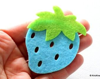 2 x Blue Strawberry Huge Felt Applique Patch