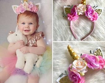 Pink white and gold unicorn Headband, pink unicorn crown, unicorn flower headband, unicorn birthday crown, first birthday.
