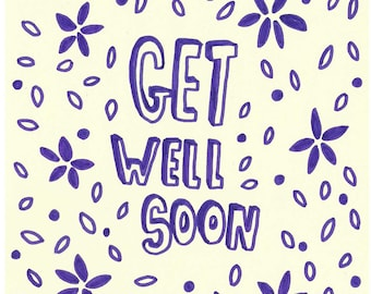 Get Well Soon | A5 Original Drawing | Super Cute Heart Warming Illustration Gift