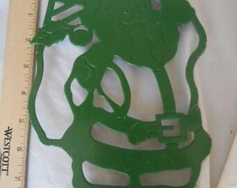 Vintage Christmas Santa Claus TRIVET Painted Metal