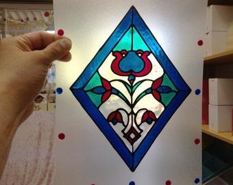 Diamond window decoration, Stained Glass, Suncatcher, Handmade window cling, Home decor, window oranment