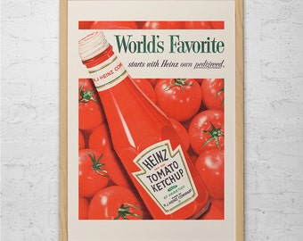 VINTAGE KITCHEN AD - Retro Mid-Century Ad - Heinz Ketchup Ad, Classic 50's Ad, Retro Kitchen Art, Ketchup Poster, Vintage Food Ad