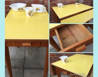 Mellow Yellow formica drop leaf table