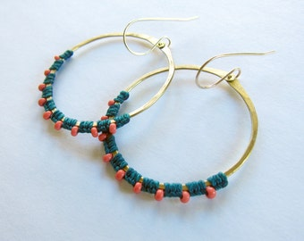Full Moon Rising Hoops in teal and coral