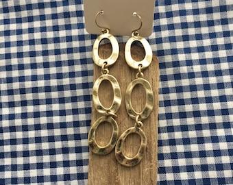 Gold three link drop earrings
