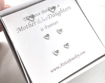Mother and 2 Daughters Heart Studs Set. 3 Pairs Sterling Silver Heart Studs Set in Medium and Small Post Earrings. Mothers Day Earrings