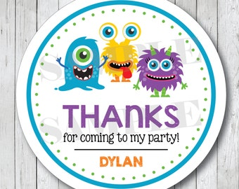 Monster Stickers . Personalized Monster Favor Tags or Labels, Monster Bash Party Stickers