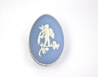 Jasperware Egg Box, Wedgwood Blue Egg, Romantic Keepsake Box, Trinket Box, Made in England,  c1970s, Vintage Art & Collectibles