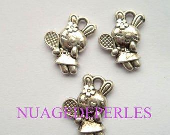 3 kitty cat Tibetan silver tennis pendant charms