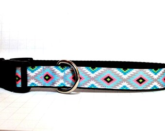 Aztec dog Collar/leash sets, geometric shape dog Collar, Tribal dog collar,holiday dog collar , blue collars, Summer dog collar,