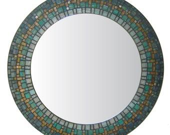 Round Wall Mirror   Round Mosaic Mirror   Handmade Mirror   Custom Mirror   Blue, Green, & Teal