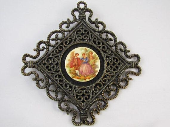 Vintage Fragonard ceramic transferware art / wall plaque / wall art / antique bronze finish metal / man and woman courting / shabby chic
