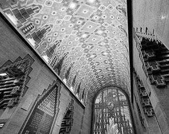 Detroit Photography - Guardian Building Lobby Black and White - Fine Art Print - 8x10
