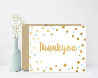 Thank You Cards, Printable Thank You Card, Baby shower Thank You, Birthday Thank You Card, Blue and Gold