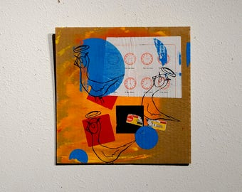 "Ready Hang Art - Screen Print and Collage on Perforated Cardboard - ""Blue Dot Bird"""