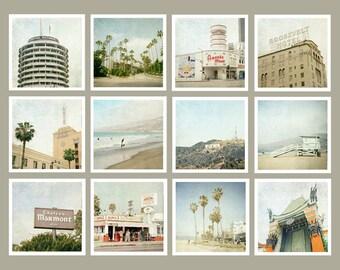 Los Angeles Prints, Los Angeles Art, LA Print Set, Los Angeles Photography, Beach, California, Gallery Wall, Los Angeles Gift, 5x5 prints