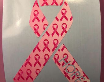HOPE Pink Ribbons Breast Cancer Awareness Vinyl Decal, Car, Window, Electronics